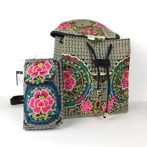 Mexican bohemian embroidered backpack & wallet